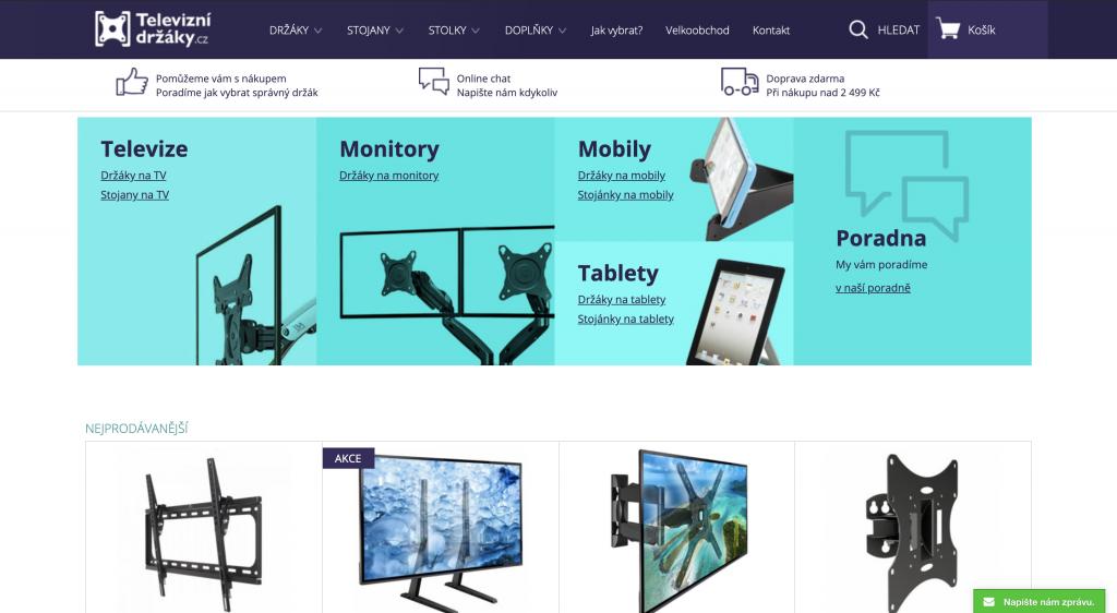 Specializovaný e-shop na držáky na tv.